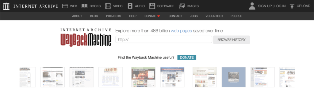 WayBack Machine (Archive.org)